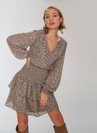 People By Fabrika Gipeli Desenli Mini Elbise Gri